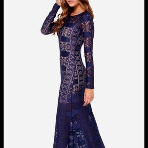 Long sleeve blue lace maxi dress